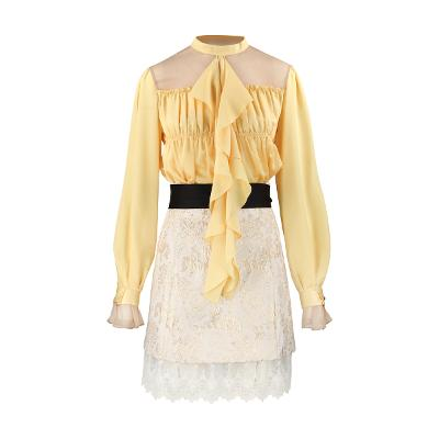 Capricieux - see through shirring blouse yellow & lace ribbon skirt ivory
